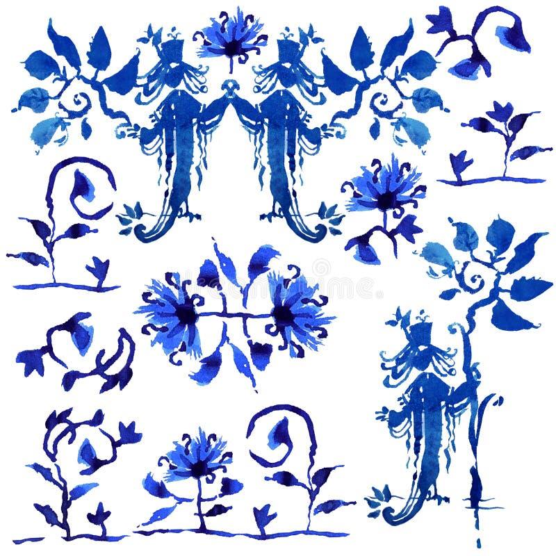 Samling av blå fantasifärgstänk i den ryska stilen stock illustrationer