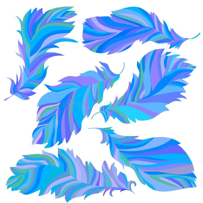 Samling av blåa fjädrar vektor illustrationer