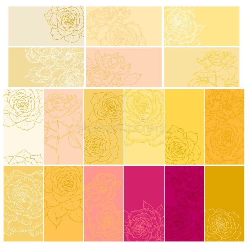 Samling av blom- bakgrunder med ro vektor illustrationer