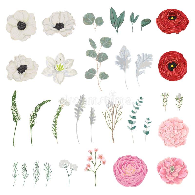 Samling av blommor, sidor och filialer Blom- beståndsdelar för tappning Isolerat anmärker royaltyfri illustrationer
