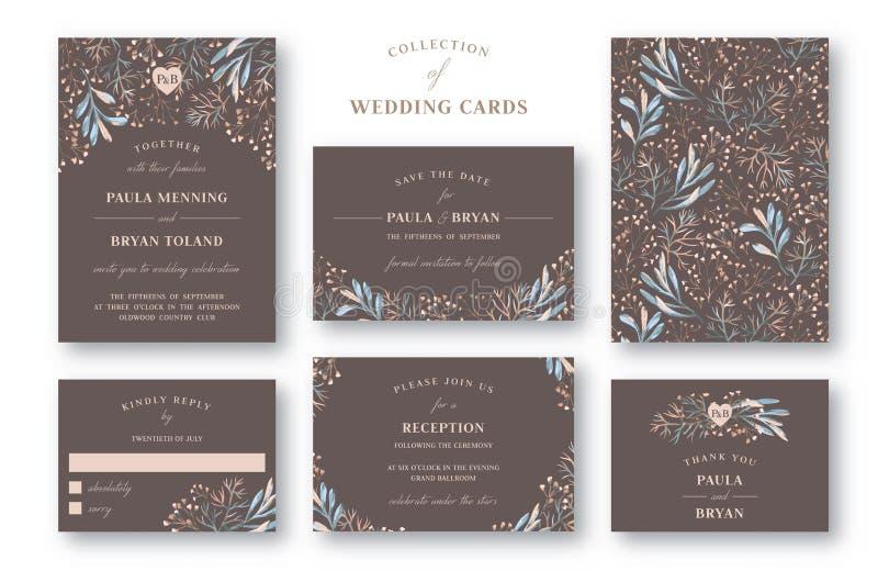 Samling av bröllopinbjudan stock illustrationer