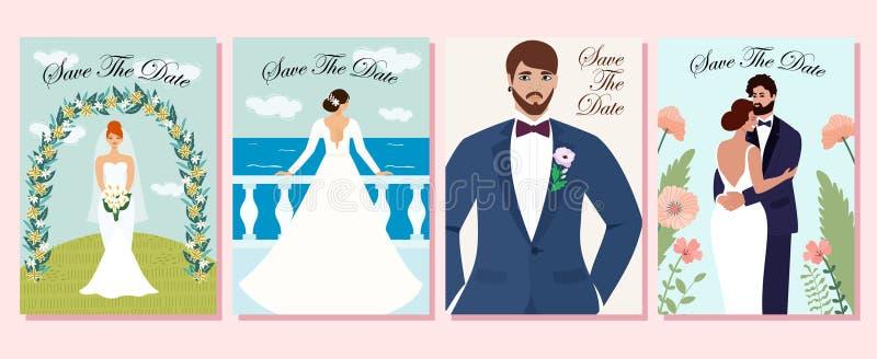 Samling av br?llopkort Gifta sig par som är förälskade på ceremonin, brudarna och brudgummarna ocks? vektor f?r coreldrawillustra vektor illustrationer