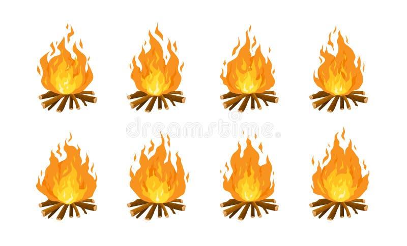Samling av brinnande brasor eller lägereldar som isoleras på vit bakgrund Animeringen ställde in av flamman på vedträ eller logga vektor illustrationer
