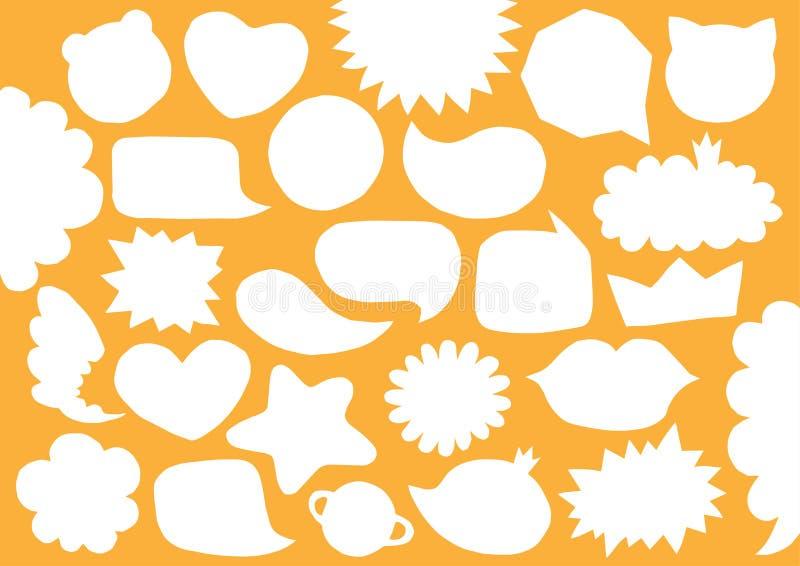 Samling av bubblor för anförande för snitt för vitbok för vektormellanrum tomma Ställ in förvridna moderiktiga former Former för  royaltyfri illustrationer