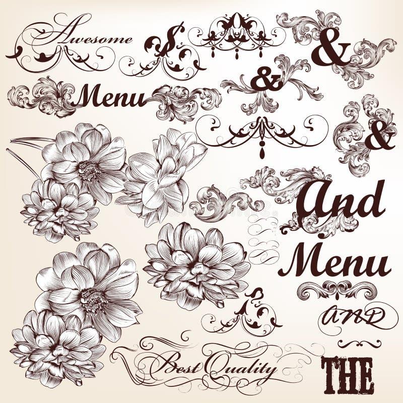 Samling av calligraphic och dekorativa beståndsdelar för vektor i vin stock illustrationer