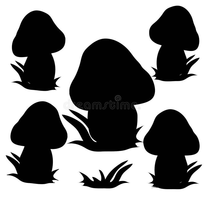 Samling av champinjoner, svart kontur på vit bakgrund royaltyfri illustrationer