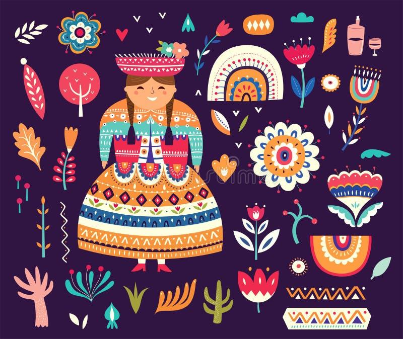 Samling av Chile symboler vektor illustrationer