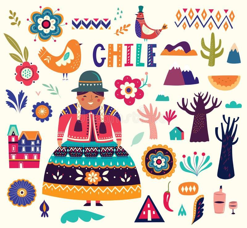 Samling av Chile symboler Nationella dräkter av Chile, Peru och Bolivia royaltyfri illustrationer