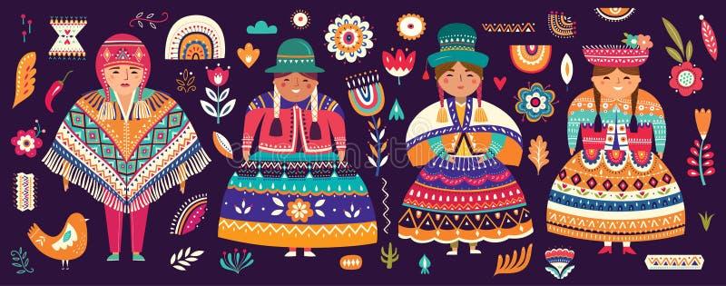 Samling av Chile symboler royaltyfri illustrationer
