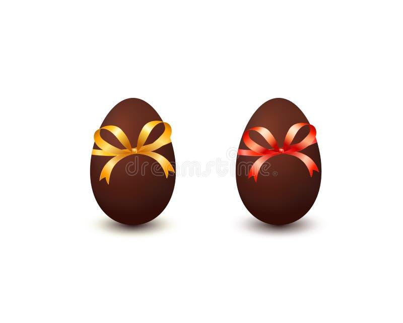 Samling av chokladeaster ägg med pilbågen som isoleras på vit bakgrund vektor illustrationer