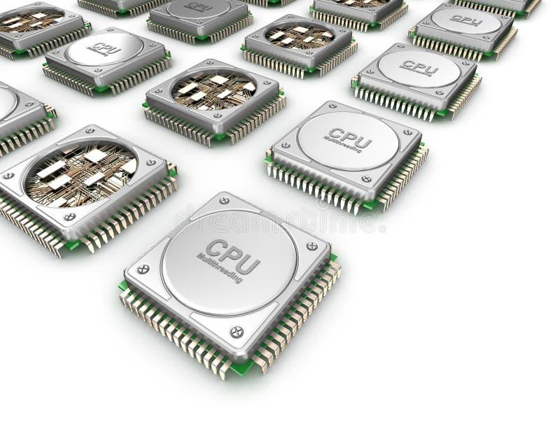 Samling av CPU& x27; s Enheter för central processor arkivbilder