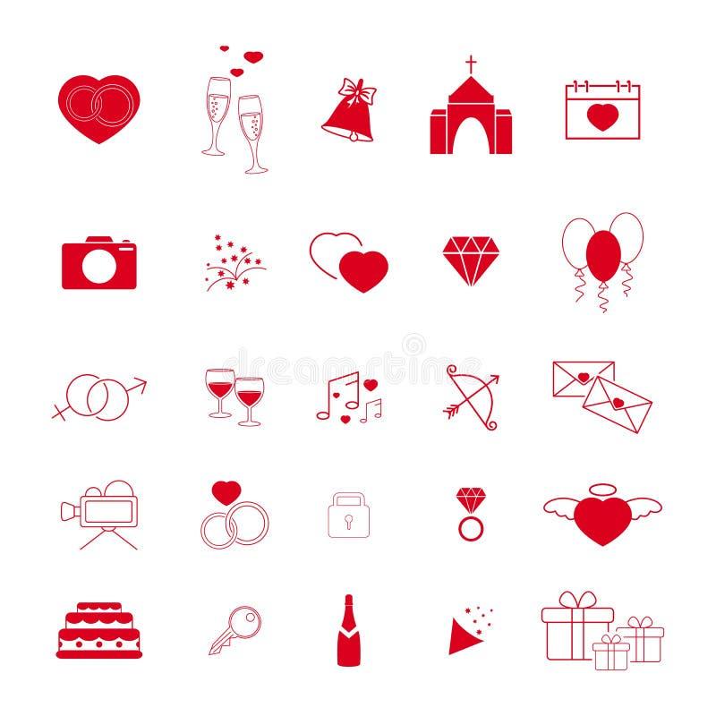 Samling av de gifta sig röd linjesymbolerna vektor illustrationer