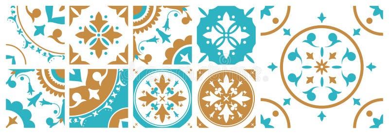 Samling av dekorativa fyrkantiga tegelplattor med olika traditionella orientaliska modeller Packe av Portugal Azulejo prydnader royaltyfri illustrationer