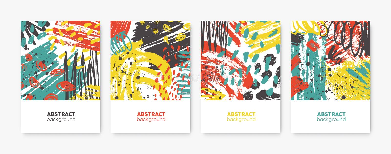 Samling av dekorativa kort-, reklamblad- eller affischmallar med ljusa kulöra abstrakta fläckar, fläckar, penseldrag royaltyfri illustrationer