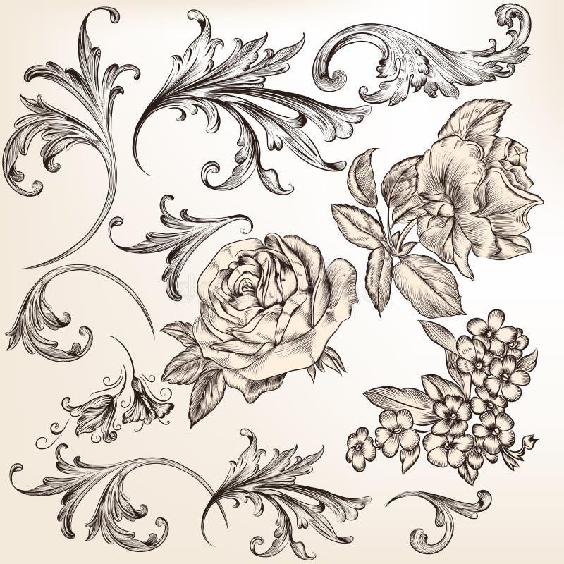 Samling av dekorativa krusidullar för vektor för design royaltyfri illustrationer