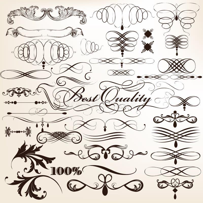 Samling av dekorativa krusidullar för vektor i tappningstil för vektor illustrationer