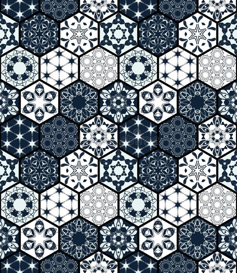 Samling av dekorativa sexhörniga tegelplattor Sömlös patchworkmodell för vektor stock illustrationer