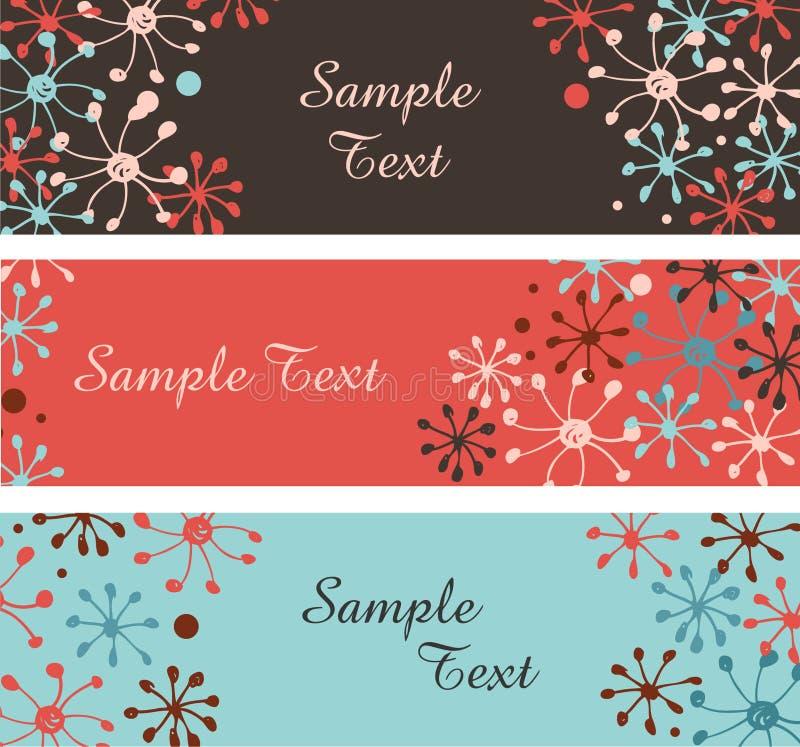 Samling av dekorativa snöflingabaner Horisontalgränser med stället för text stock illustrationer