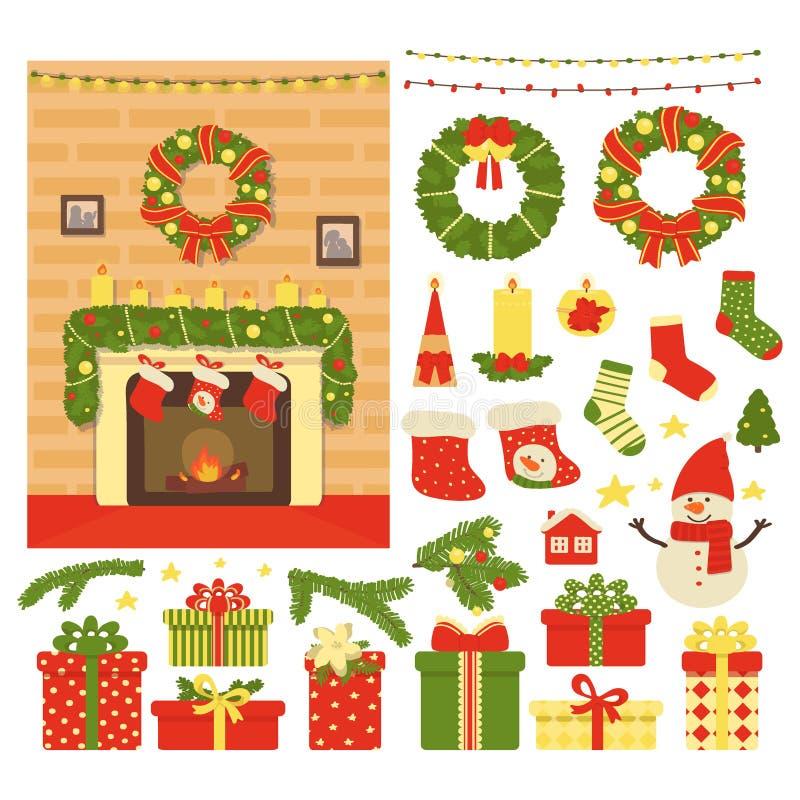 Samling av dekoren för jul som och nytt års isoleras på vit bakgrund Vektorillustration i tecknad film stock illustrationer