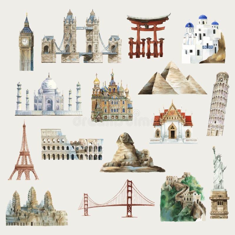 Samling av den arkitektoniska vattenfärgillustrationen för gränsmärken runt om världen royaltyfri illustrationer