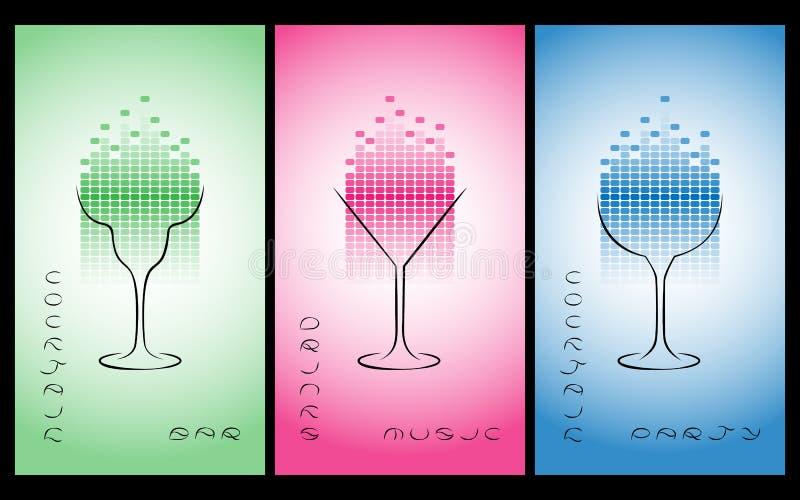 Samling av den cocktailpartyaffischen, reklambladet, inbjudan eller banret royaltyfri illustrationer