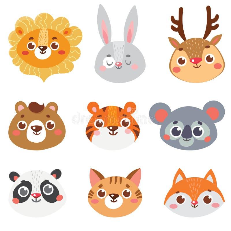 Samling av den djura framsidan vektor illustrationer