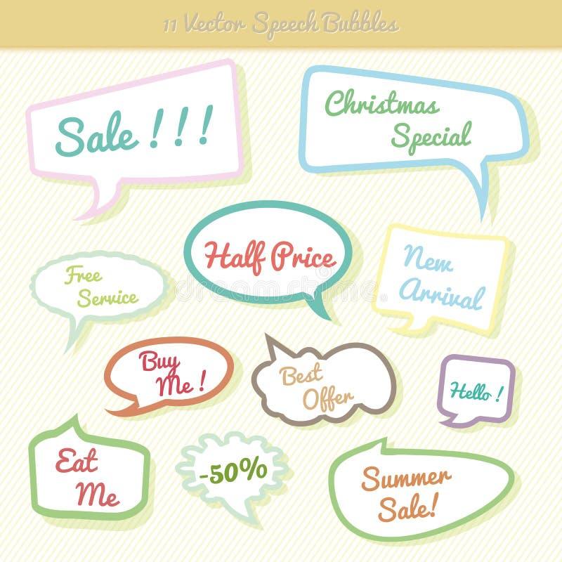 Samling av den färgrika uppsättningen för anförandebubbladialog stock illustrationer