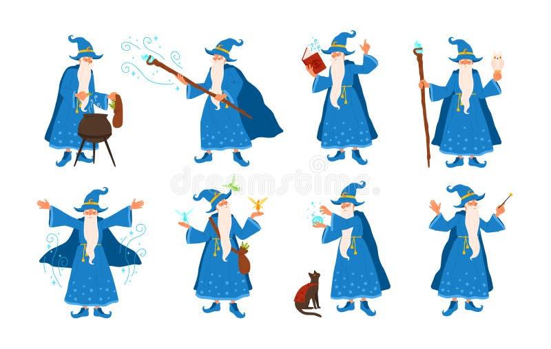 Samling av den gamla trollkarlen som gör magi som isoleras på vit bakgrund Packe av äldre trollkarlar eller sagatrollkarlar stock illustrationer