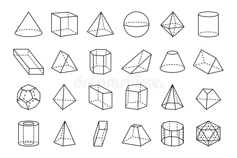 Samling av den geometriska formvektorillustrationen royaltyfri illustrationer