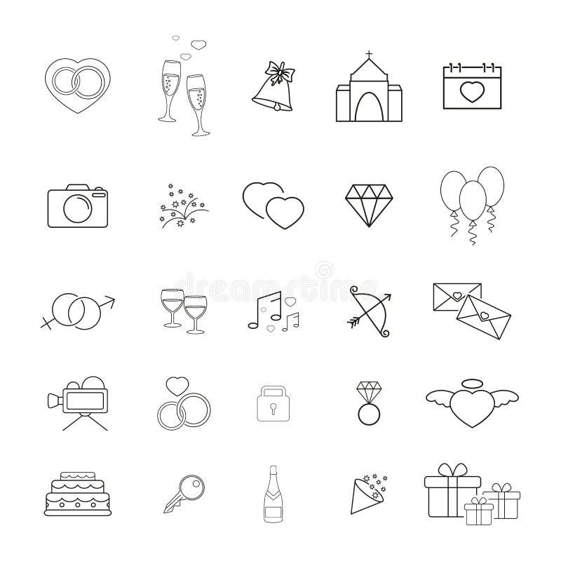 Samling av den gifta sig tunna linjen symboler royaltyfri illustrationer