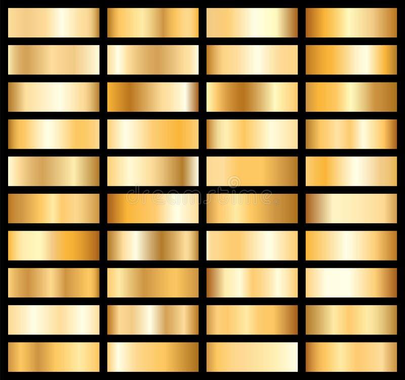 Samling av den guld- metalliska lutningen Briljantplattor med guld- effekt också vektor för coreldrawillustration royaltyfri illustrationer