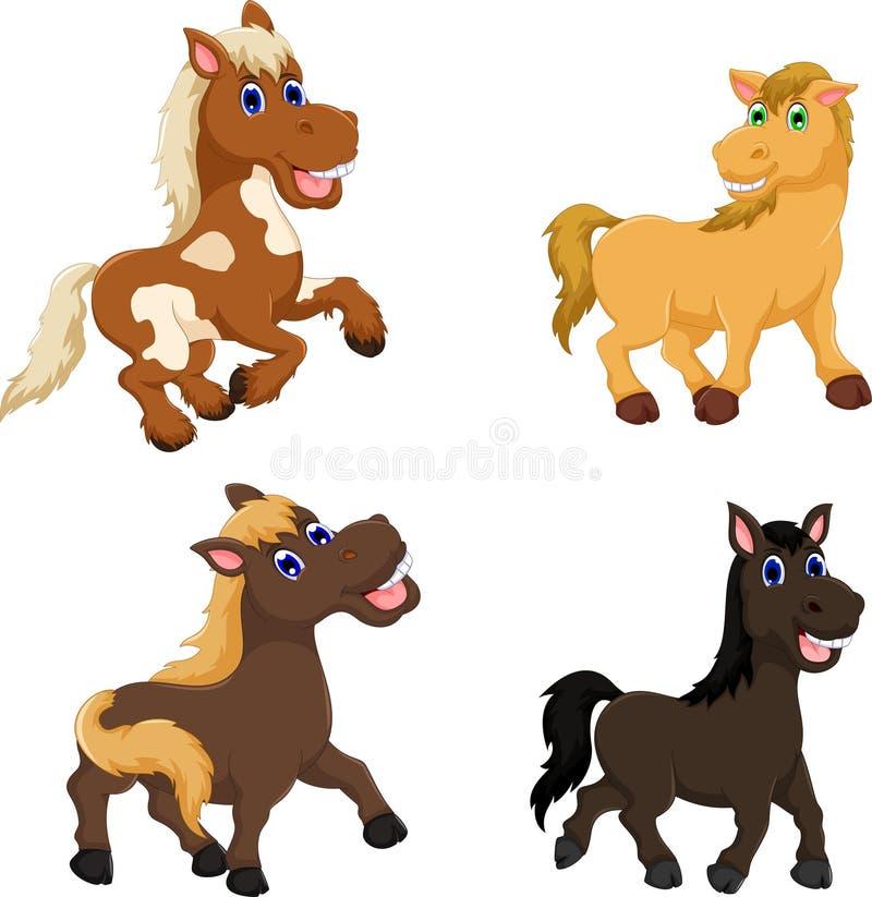 Samling av den gulliga hästtecknade filmen vektor illustrationer