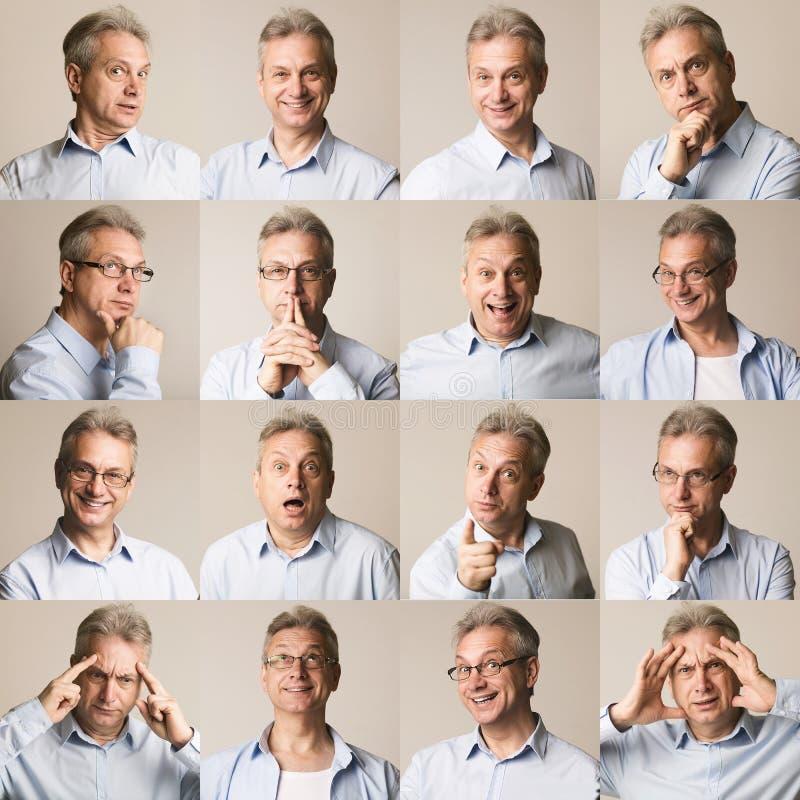 Samling av den höga affärsmannen som uttrycker olika sinnesrörelser royaltyfri fotografi