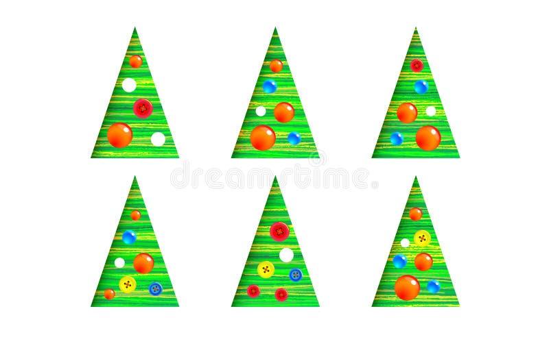 Samling av den julträd-kotte uppsättningen, modern intressant design Det kan användas för utskrivavna material, affischer, affärs royaltyfri illustrationer