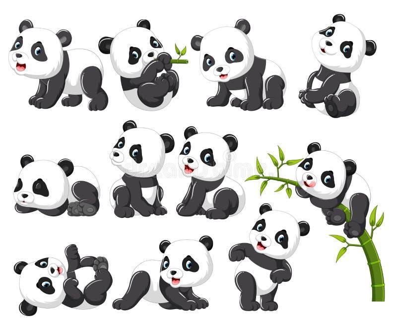 Samling av den lyckliga pandan med olikt posera stock illustrationer