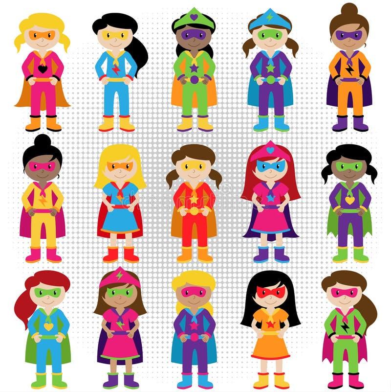 Samling av den olika gruppen av Superheroflickor royaltyfri illustrationer