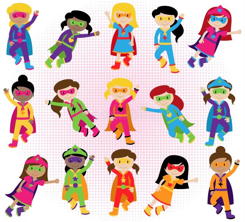 Samling av den olika gruppen av Superheroflickor vektor illustrationer