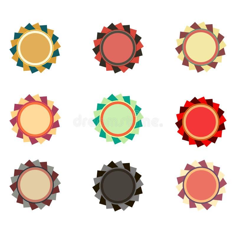 Samling av den pärlemorfärg färgrika eleganta vektoremblemdesignen Uppsättning av begreppspromoskyddsremsor, klistermärkear - hög vektor illustrationer