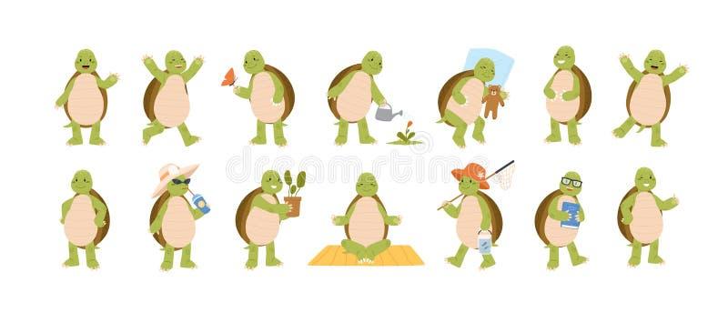 Samling av den roliga förtjusande sköldpaddan som isoleras på vit bakgrund Ställ in av den gulliga sköldpaddan som utför dagliga  royaltyfri illustrationer