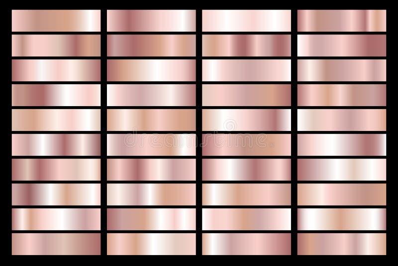 Samling av den rosa guld- metalliska lutningen Briljantplattor med guld- effekt också vektor för coreldrawillustration vektor illustrationer