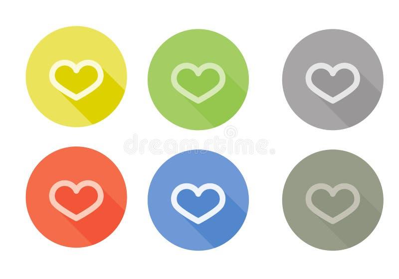 Samling av den rundade symbolen för hjärtasymbol med arkivfoton