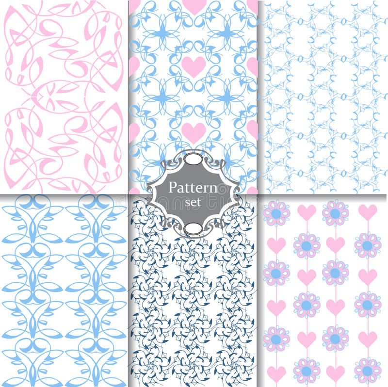 Samling av den sömlösa modellen i blått- och rosa färgfärger ändlöst vektor illustrationer