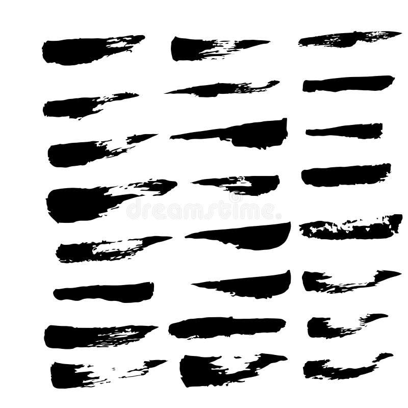 Samling av den svarta färgpulverborsten för bruk stock illustrationer
