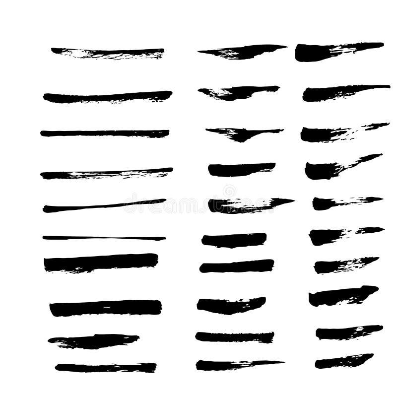 Samling av den svarta färgpulverborsten för bruk vektor illustrationer