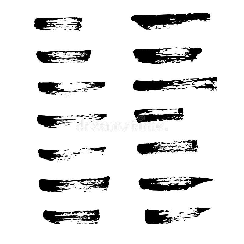 Samling av den svarta färgpulverborstevektorn för bruk vektor illustrationer