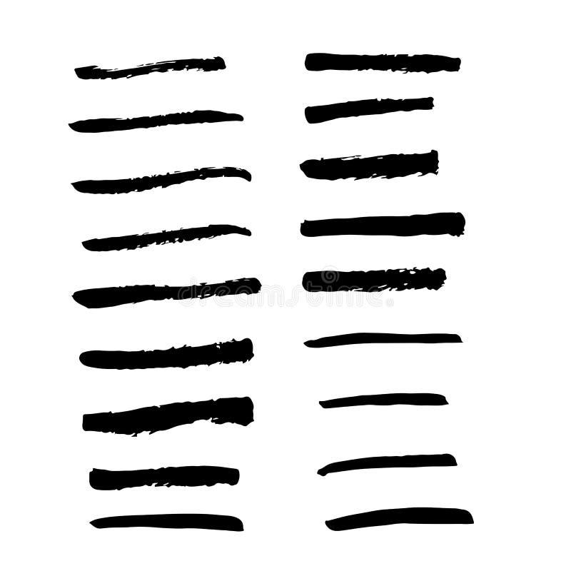 Samling av den svarta färgpulverborstevektorn för bruk stock illustrationer