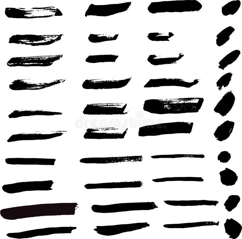 Samling av den svarta vektorn för akrylmålarpenselborste för illustr vektor illustrationer
