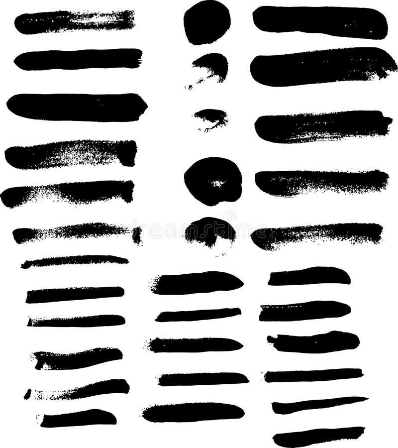 Samling av den svarta vektorn för akrylmålarpenselborste för illustr royaltyfri illustrationer