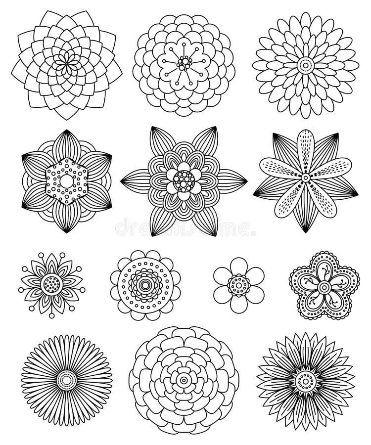 Samling av den svartvita blommamandalaen, vektor illustrationer