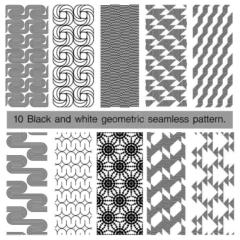 Samling av den svartvita geometriska sömlösa modellen vektor illustrationer